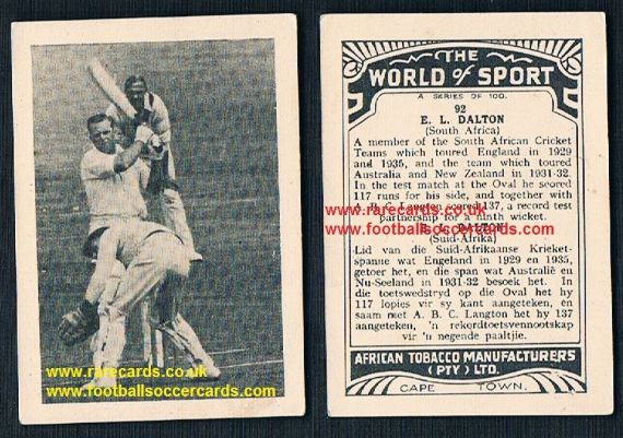 1930's South African Tobacco Cape Town World of Sport cricket card E.A. Dalton 92